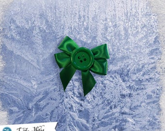 Green Large Button Small Hair Bow | 3in French Barrette | Hand Crafted