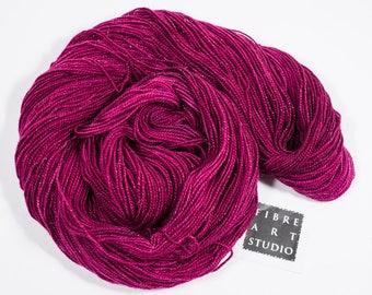 Hand Dyed Sparkle Yarn | Deep Magenta Pink Semi Solid Yarn with Silver Glitter | SW Merino Nylon Stellina | Tonal Yarn | Very Berry