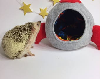 Rocket Ship Cozy Fleece Snuggle House for Hedgehogs and Other Small Animals, Rats, Guinea Pigs, Sugar Gliders
