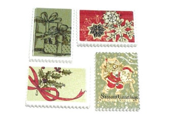 4 x Rectangle Old World Christmas Stamp wooden buttons