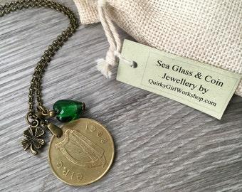 30th birthday gift, 1988 Irish coin necklace, green glass heart, horse, shamrock jewelry, lucky irish talisman, gift for her, woman present