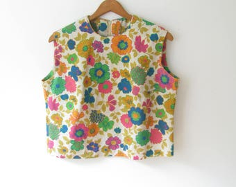 Vintage 60's Linen Flower Print Top / 1960s Sleeveless Blouse/size Large XL