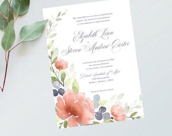 French Blue Wedding Invitations - Printable Wedding Invitations - Blush Wedding Invitations - Watercolor Wedding Invitations - French Blue