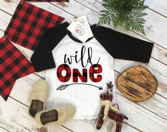 First Birthday Shirt, Lumberjack Birthday, 1st Birthday shirt, Buffalo Plaid Party, Lumberjack Party, WILD ONE PLAID,Wild One Birthday shirt