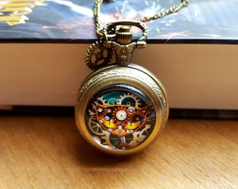 Vintage Style Steampunk Cat Pocket Watch, Quartz Pocket Watch, Victorian Style Pocket Watch Necklace Chain