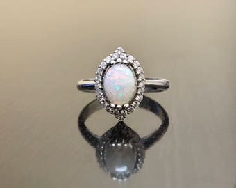 Art Deco 14K White Gold Diamond Halo Opal Engagement Ring - 14K Gold Opal Halo Diamond Wedding Ring - 14K Diamond Opal Ring - Halo Opal Ring