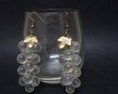 Grape cluster earrings clear acrylic lucite Jewelry dangle vintage bronze brass metal retro extra long mod disco style 1980s 1990s beaded