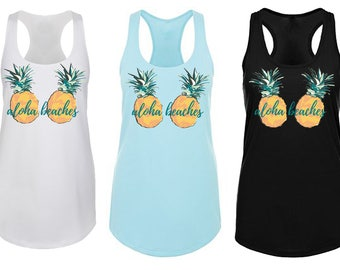 Aloha Beaches Watercolor Pineapple Tank Top in Light Pink
