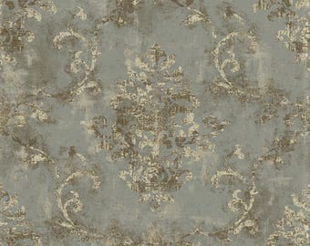 Wallpaper - Antiqued Ivory Metallic Scroll Damask on Warm Textured Silver Gray - Grunge, Vintage Victorian - By The Yard - GL4604 fl