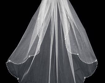 "Crystal Beaded Scallop Edge 32"" Long Wedding Veil Bridal Veil"