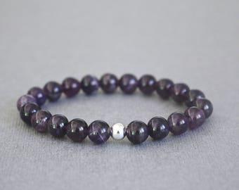 Amethyst beaded bracelet, gemstone bracelet, amethyst stone bracelet, stone bracelet, crystal bracelet, gemstone jewelry, stacking bracelet