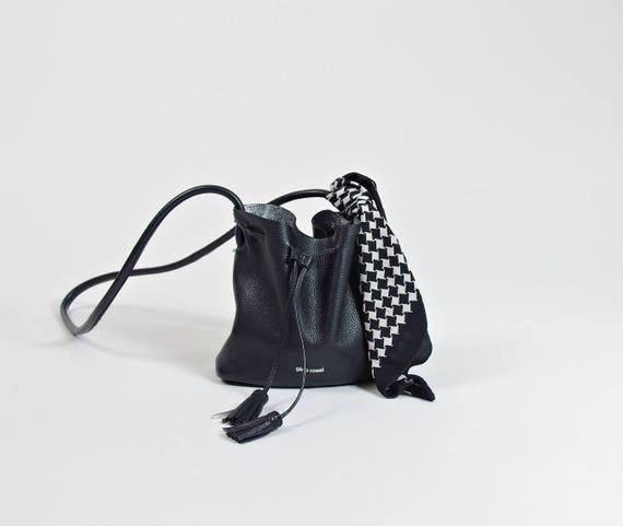 80s Houndstooth black & white silk scarf / minimal monochromatic silk headband / bag's accessory