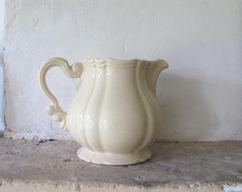 Vintage French Sarreguemines cream faience pitcher