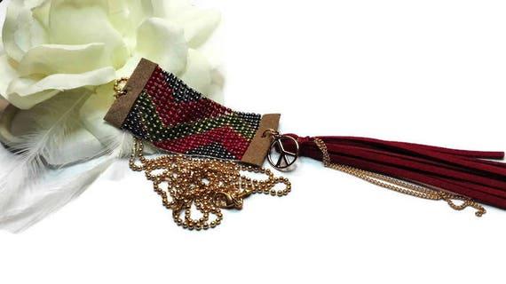 Beaded Boho Style Necklace with Tassel