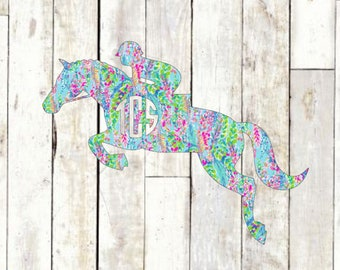 Horse Monogram Vinyl Decal - Hunter Jumper Foxhunting Monogrammed Lilly Pulitzer Horseback Riding