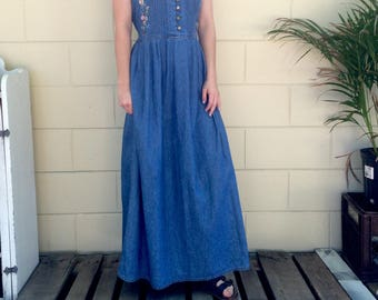 Vintage Floral Embroidered Denim Dress - One size fits most!