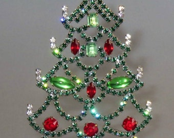 Rhinestone Vintage Christmas Tree Tabe-Top Free Standing 4.5 -inches