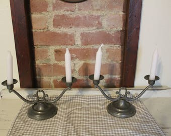 Set of 2 Double PEWTER Candlestick Holders*Vintage*Antique*FARMHOUSE Style*MorningStroll