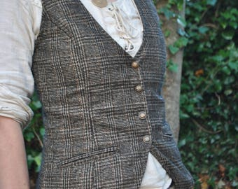 Traditional Folk Vest, Women's, Classic, Vintage Look, Tweed Vest, Coloured Womans Vest, Folk Waistcoat, Celtic Waistcoat, Celtic, Dandy