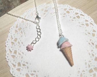 Free Shipping, Ice Cream Cone Necklace, Ice Cream Necklace,Birthday Gift, Ice Cream Charm Necklace, Silver Necklace, Ice Cream cone charm
