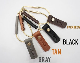 Leather keychain/carabiner/leather key fob/leather key holder/monogram keychain/initial keychain/brass hook/keychain/personalized gift
