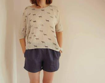 Womens linen shorts, linen summer shorts, linen shorts with pockets, womens linen clothing, CollectionWN