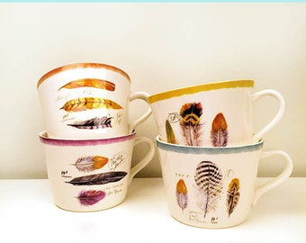 Buy Any 2, 3, or 4 Feather Mugs, Feather Mugs, Feather Coffee Mugs, Feather Ceramic Mugs