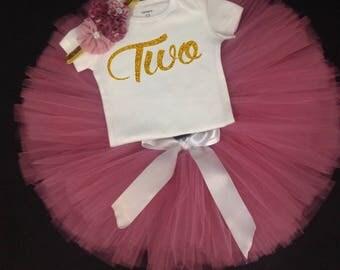 Rose Pink Tutu Set,  Birthday Set, Second Birthday, Pink Birthday Tutu, TWO Birthday Tutu Set, Second Birthday Tutu Outfit, 2nd Bday Tutu