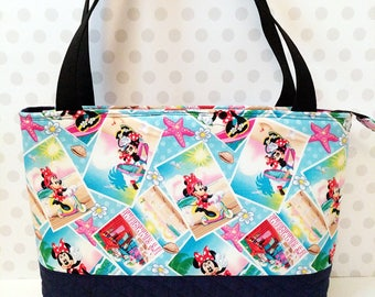 Minnie Summer Snapshots Tote Bag / Zipper Closure / Cotton Bag
