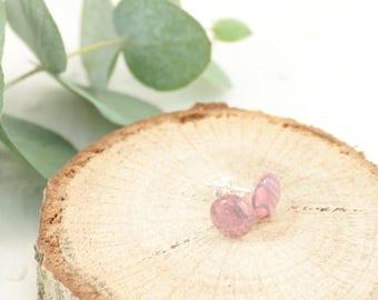 Boucles d'oreille puces rose - Argent 925