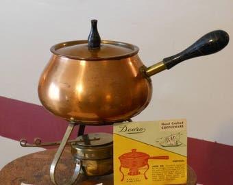 Vintage Douro Solid Copper Fondue Pot