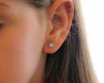 Opal Earrings, Opal Stud Earrings, Stud Earrings, White Opal Earrings, Blue Opal Stud Earrings,Blue Opal Earrings,October Birthstone,