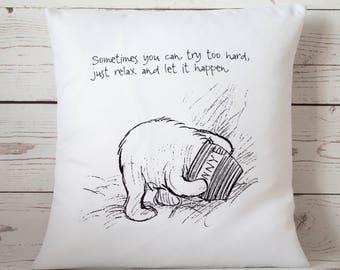 "Relax -  16"" Cushion Pillow Cover Winnie the Pooh - UK Handmade"