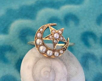 Victorian Crescent Moon and Star Pearl Conversion Ring in 14k Yellow Gold - JL831A