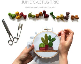 June Cacti Contemporary Embroidery PDF by Sarah K. Benning - #SKBDIY Monthly Pattern Program: Single Month Instant Download