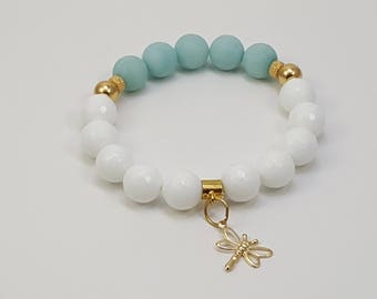 Handmade beaded bracelet with white agates and amazonite all natural stones, and gold filled 14 k charms and findings