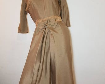 FREE  SHIPPING  1950  Silk  Linen  Dress