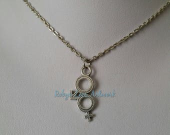 Silver Male Female Sex Symbol Charm Necklace on Silver Crossed Chain or Black Faux Suede Cord