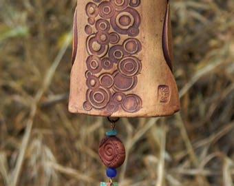 Ceramic Wind Chime Garden Bell with Crop Circle Pattern, Unique Garden Art Decor Sculptured Bird, Copper Sail  IN PRODUCTION!