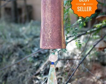 Wind Chime Garden Bell Handmade Ceramic Windchime Garden Art Decor Wind Chimes Copper Windchimes Sculpture In Time for Xmas SHIPPING MONDAY