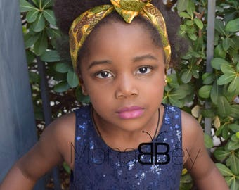 African print ankara headwrap, fabric headtie, african fabric hair accessories, ankara fabric, hair accessories for children