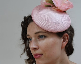 Pillbox hat pink pillbox upcycled peony flower hat pink peony peonies pinup pin up vintage wedding hat pink cerise mother of bride pillbox