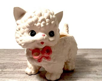 Vintage Cat Planter, White Cat Vase, Ceramic Kitten, Inarco Kitty, Kitsch Big Eyes, Kawaii, Kitschy Pink Bow Feline Jardinière, Japan