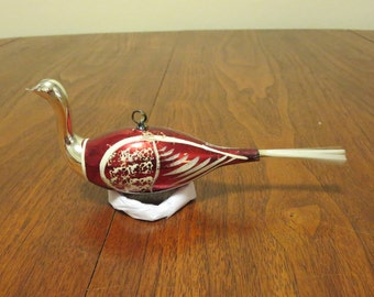 """Vintage 1950s 1960s glass Christmas tree ornament decoration red white painted bird partridge bristle tail 7"""" long (111717)"""
