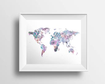 World Map Print, Watercolor Map, Nursery Print, Watercolor Floral, Flower Globe Print, Wanderlust 5x7 8x10 11x14 16x20 18x24 24x30 Poster