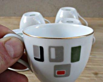 Six RC Japan espresso cups , vintage Espresso cups Vintage RC Japan porcelain cups.