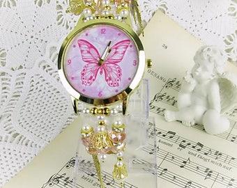 Watch quartz bracelet watch pearl crystal rondelles Butterfly