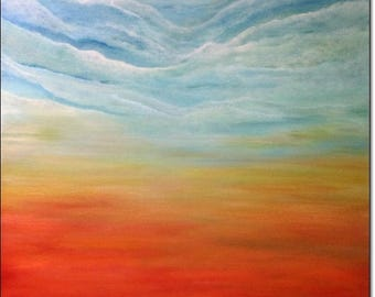 Original Painting Canvas Art Abstract ACRYLIC LANDSCAPE PAINTING Contemporary Sky Clouds Wall Art Home Decor Blue Teal Gold Orange 24x24x1,5