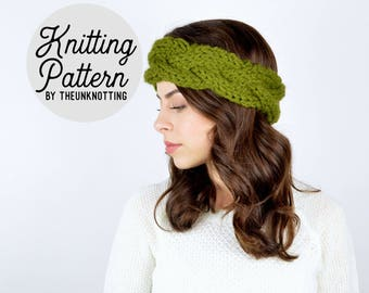 PATTERN // The Norfolk Headband // Chunky Knit Braided Cabled Earwarmer Pattern