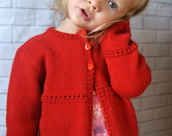 Hand Knit Toddler Sweater, Toddler Girl Sweater Knit, Red Sweater for Girl, Toddler Girl Cardigan Knit, Red Cardigan Toddler